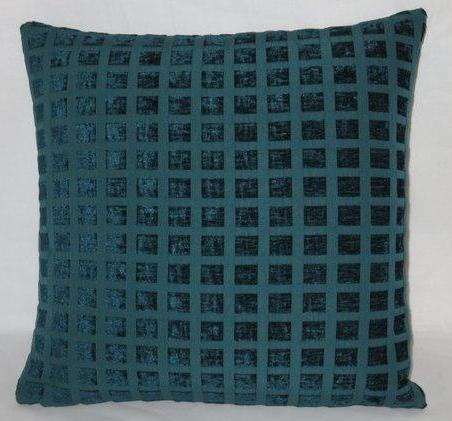 teal chenille squares pillow