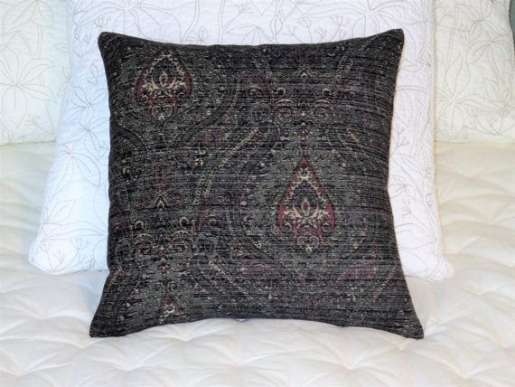 grey teal red paisley medallion pillow