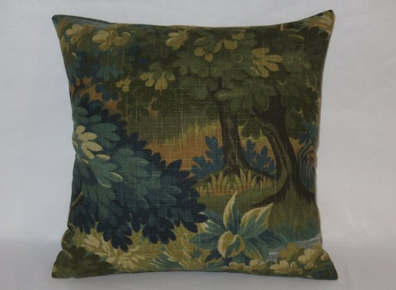Robert Allen Scenic Flora Pillow in Tapestry Green Trees and Leaves