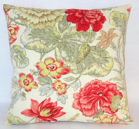 waverly red floral pillow