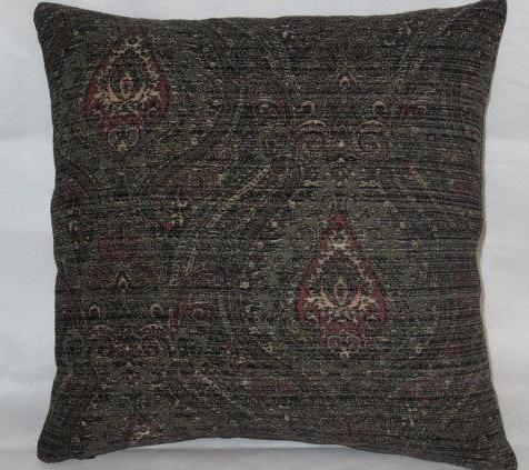 black paisley chenille pillow