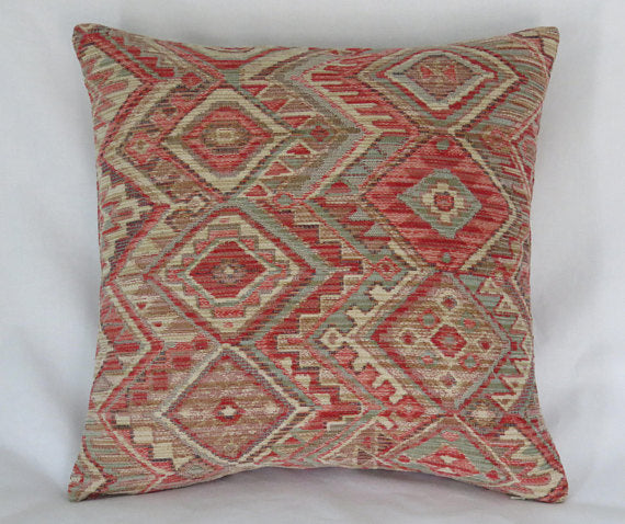 orange diamond southwest pillow