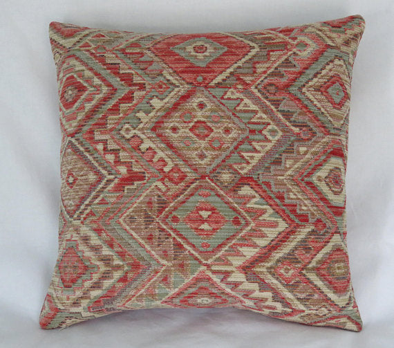 coral and aqua southwest chenille pillow