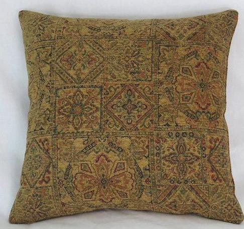 Gold tile medallion chenille pillow