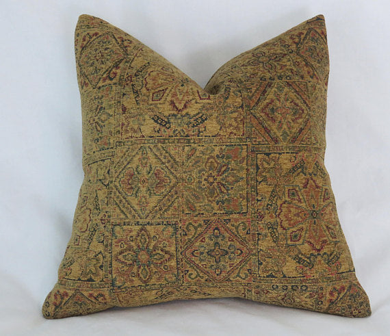 gold tapestry chenille medallion pillow