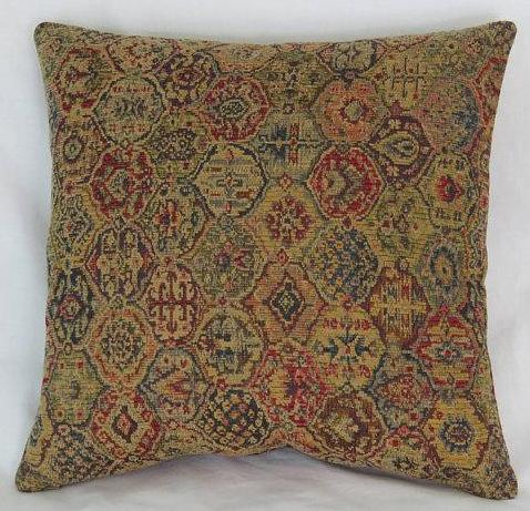gold red blue carpet tapestry pillow