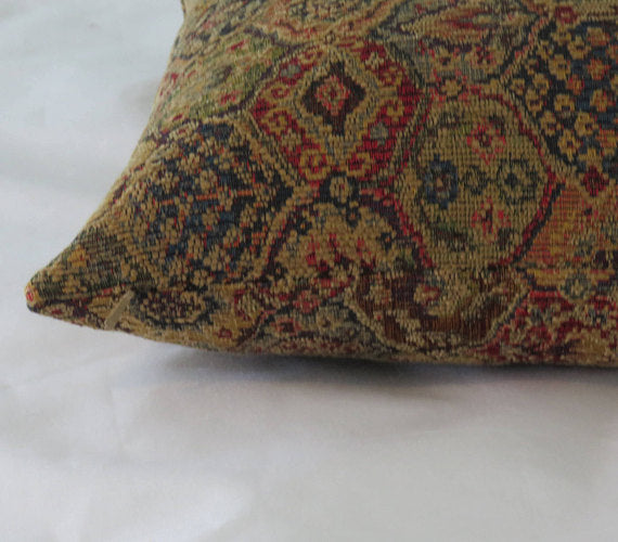 Gold Red Blue Tapestry Pillow Cover Small Ogee