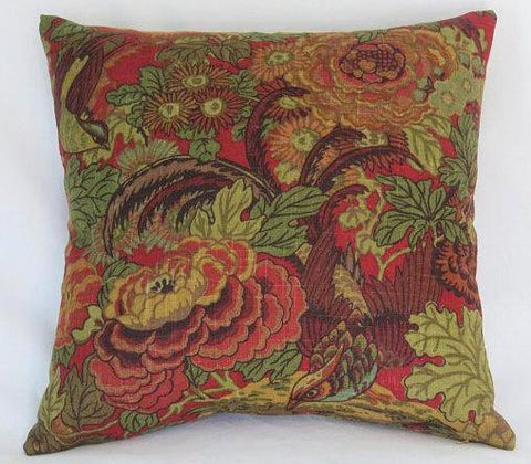 covington abbotsford pillow with birds and flowers