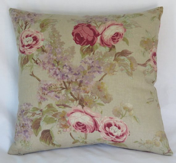 pink roses on tan pillow