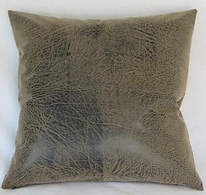 brown distressed faux leather pillow