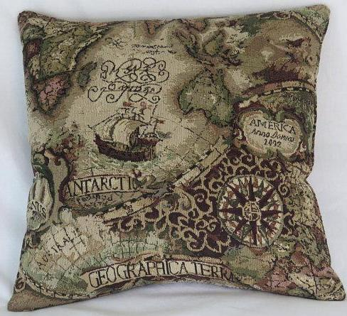 map tapestry pillow cover