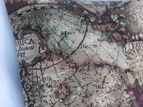 map tapestry pillow