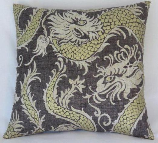 charcoal linen with gold dragon pillow cover