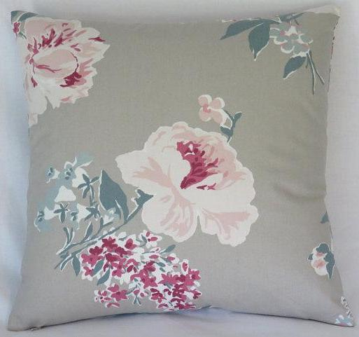 Taupe  pink and teal floral pillow cover