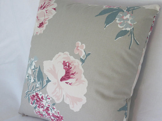taupe pink teal floral pillow