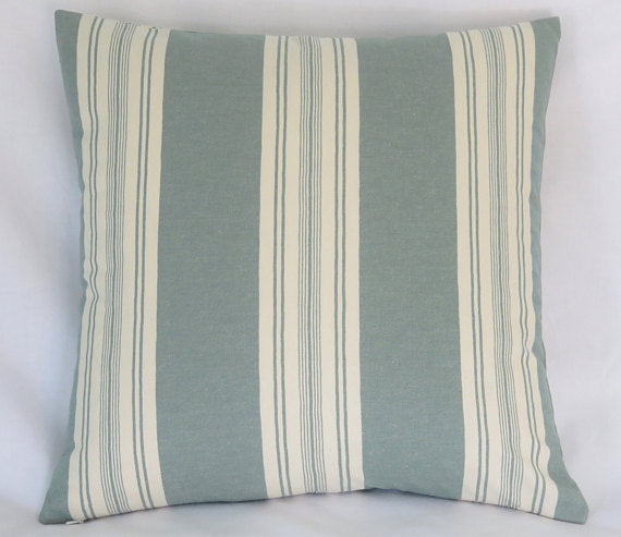 teal green awning striped pillow