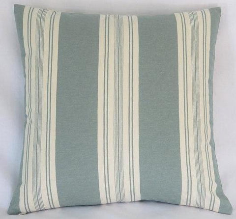 teal green ticking stripe pillow