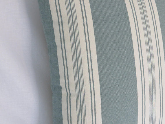 Teal Green and White Striped Pillow