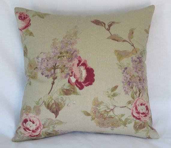 tan floral pillow