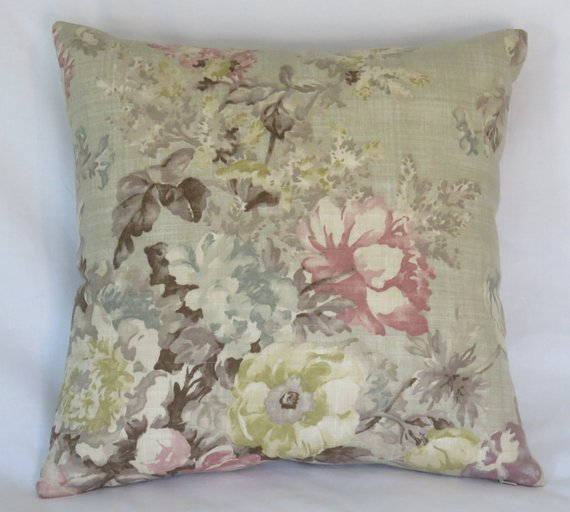 pastel floral on tan pillow