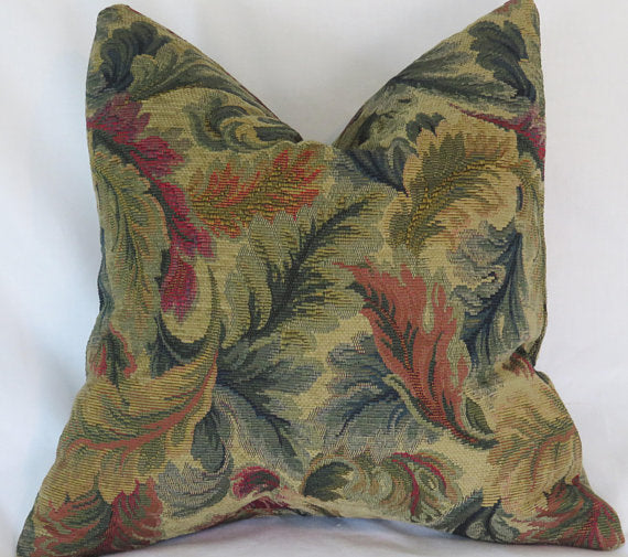 gold teal rust leaves pillow