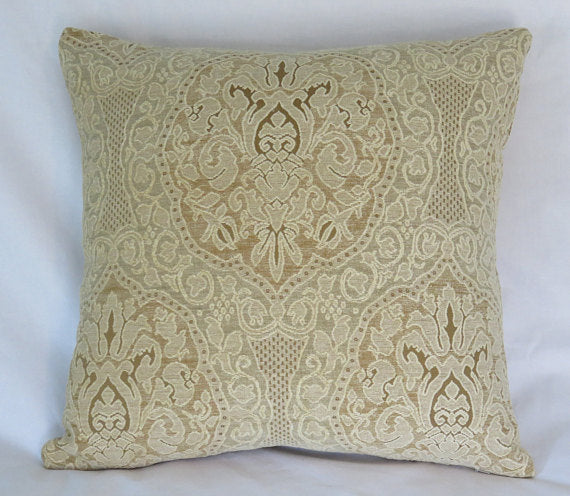 ivory lace chenille pillow cover