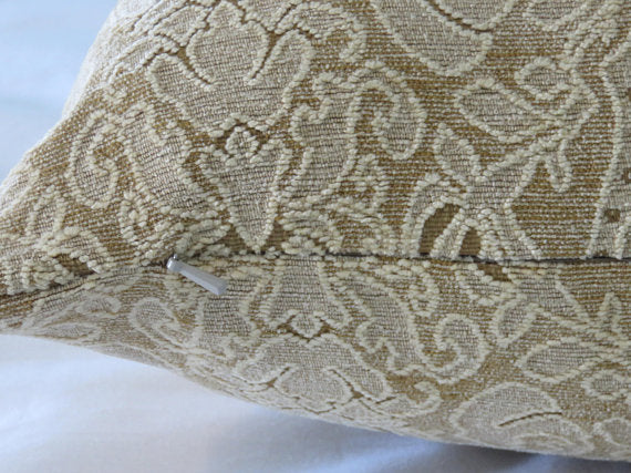 Cream and Gold Lace Chenille Pillow Cover