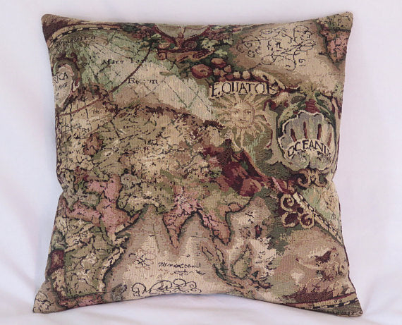 vintage map tapestry pillow
