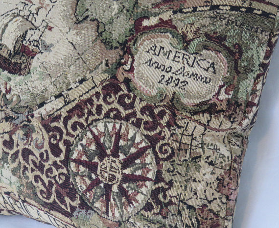 tapestry map pillow cover