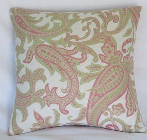Pink and Green Paisley Pillow Cover
