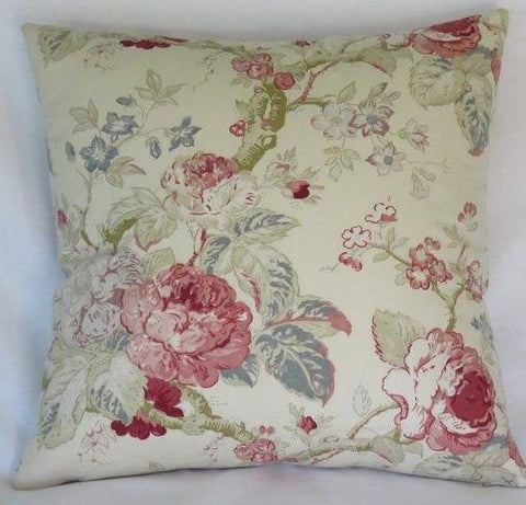 ivory floral pillow with pink roses