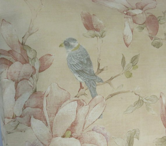 Pale Peach Oriental Birds and Flowers Pillow Cover