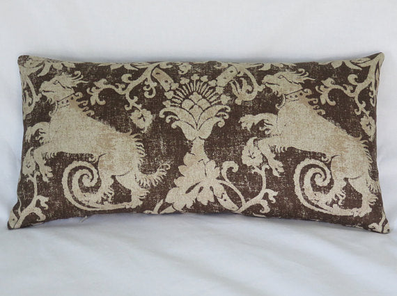 medieval lion pillow in brown