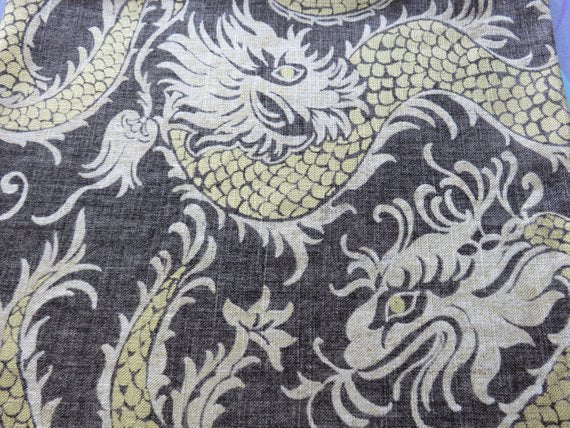 Grey-Brown and Gold Dragon Pillow Cover