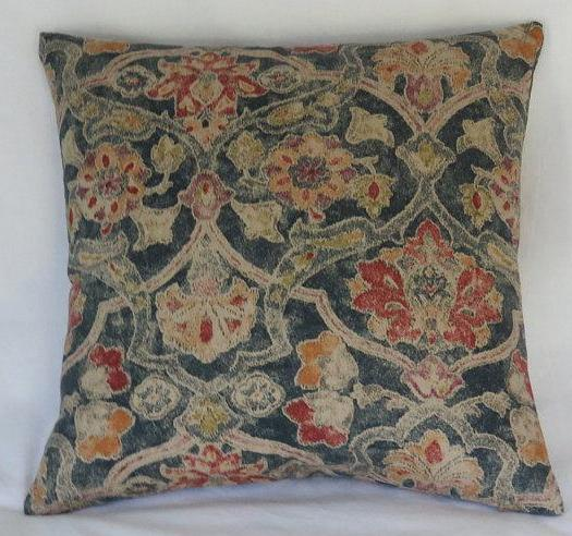 colorful distressed denim blue floral pillow cover