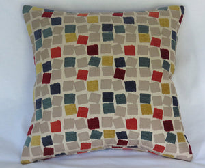 colorful chenille squares pillow