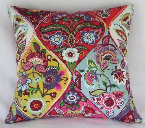 colorful floral medallion pillow