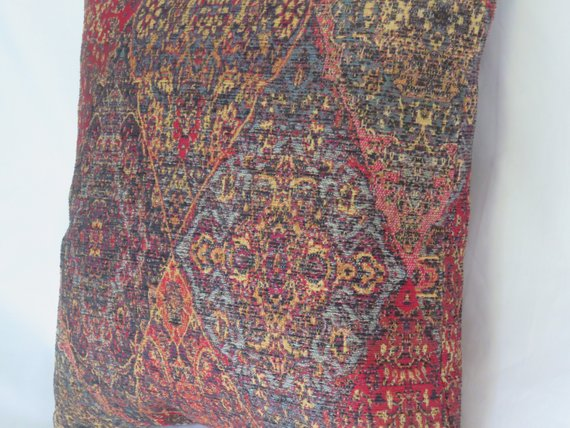 red blue gold tapestry medallion pillow cover