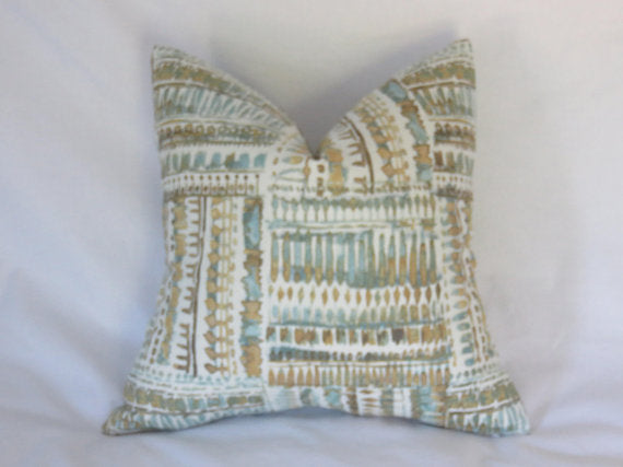 Aqua and Gold Tribal Print Pillow Cover