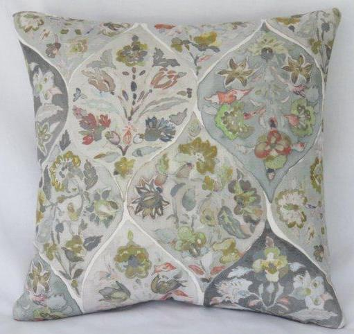 watercolor floral pillow grey lime coral