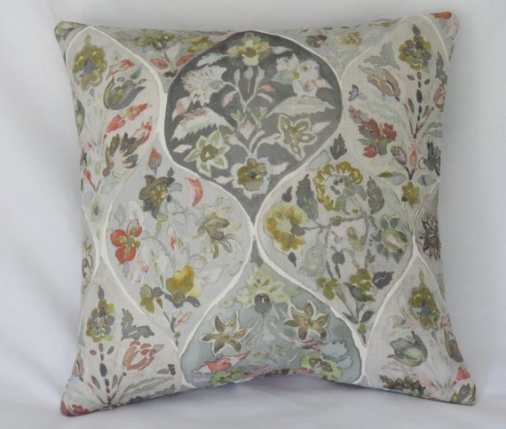 floral medallion pillow watercolor style