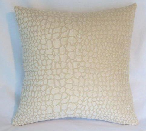 ivory chenille reptile texture pillow cover