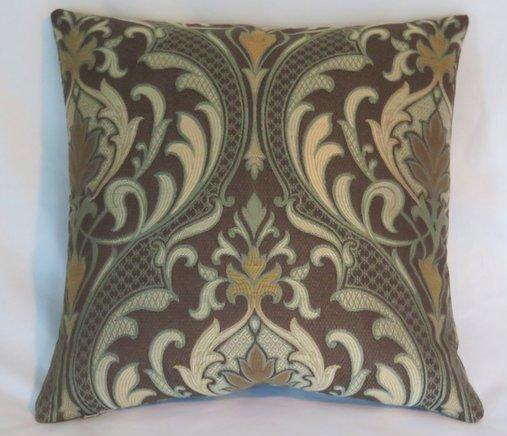 brown and aqua art nouveau pillow cover