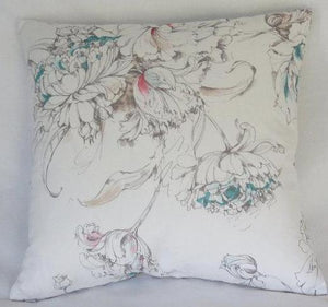 White watercolor tulips pillow