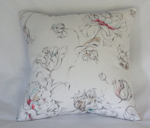 white watercolor floral pillow with pink and aqua