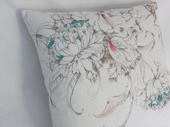 white cotton floral pillow cover