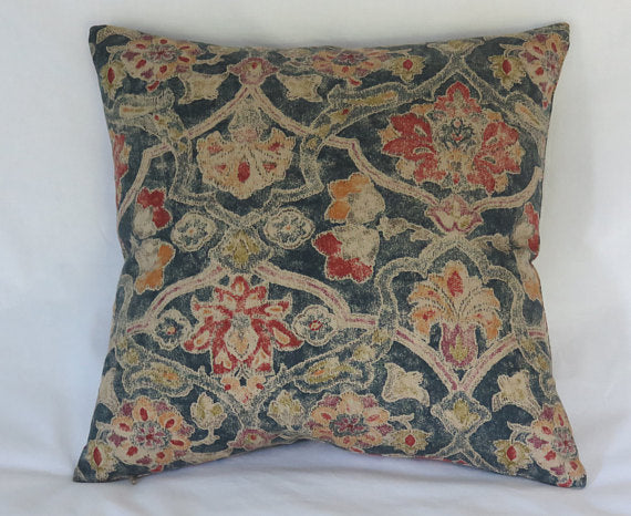 colorful vintage look floral pillow blue red gold