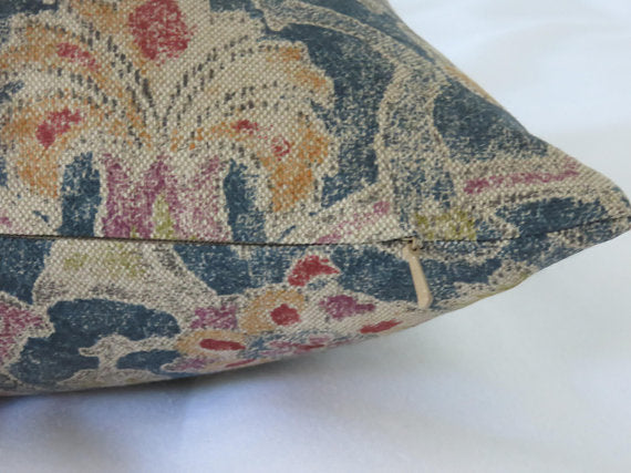 traditional floral blue pillow