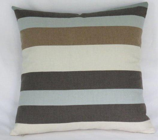 Brown Aqua cream stripe pillow cover