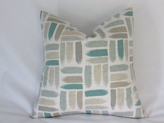 Teal and Tan Brushstroke Pillow Cover
